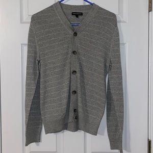 Men's Express Gray with White Stripes Cardigan S